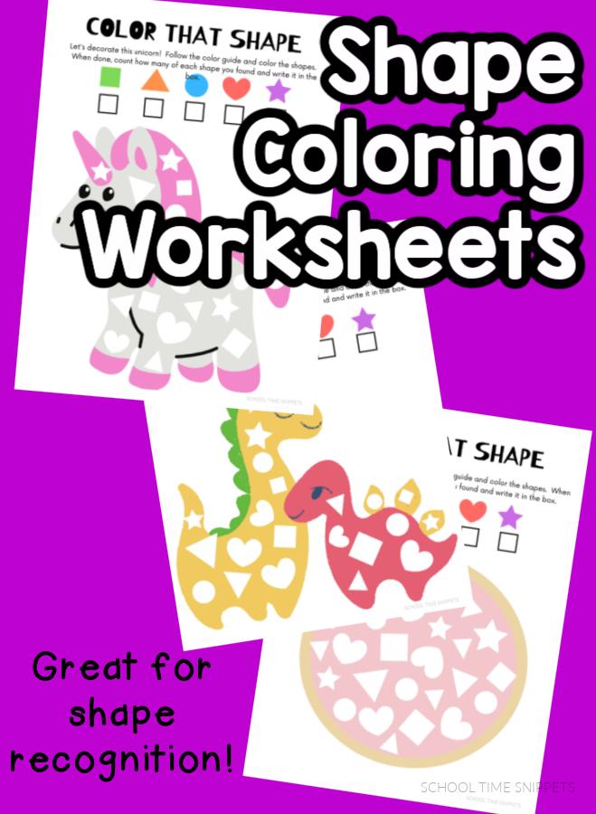shape coloring worksheets