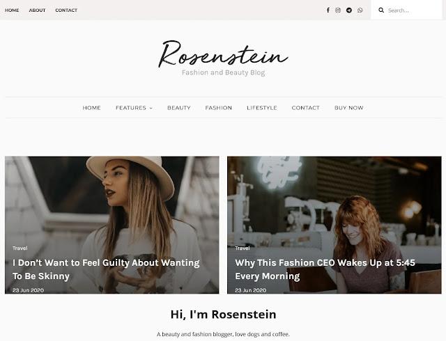 Rosenstein Fashion Blogger Templates 2020 Free Download