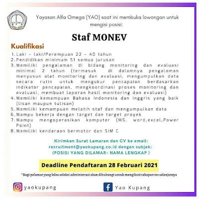 Loker Kupang di Yayasan Alfa Omega Sebagai Staf Monev