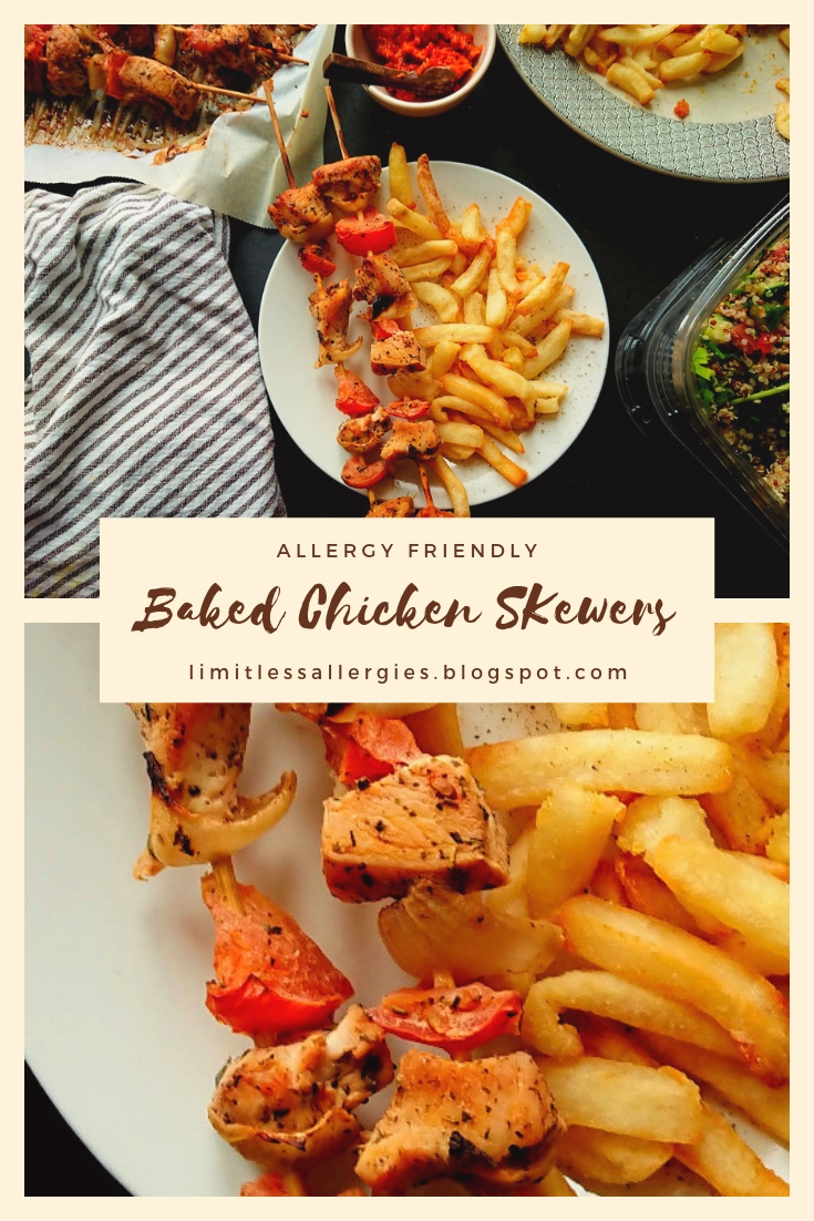 pin image for Baked Chicken Kebab Skewers