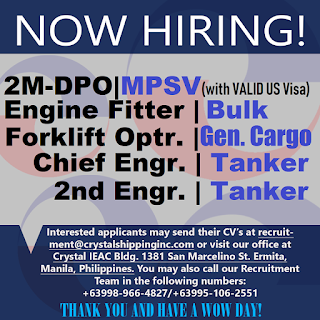 Hiring Filipino seamen careers to work at MPSV, bulk carrier, general cargo, tanker ships joining
