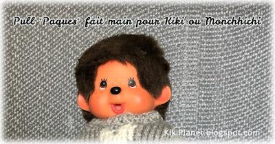 kiki monchhichi easter handmade fait main clothes pull tricot poupée