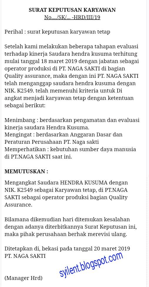 Contoh Surat Pengangkatan Karyawan Tetap Sk Syilent