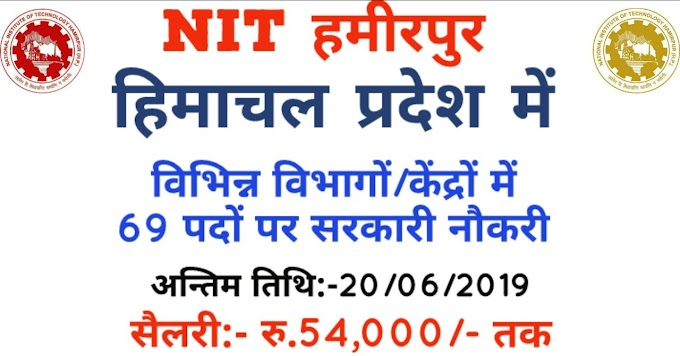 NIT Hamirpur Recruitment 2019 Apply Online 60 Job Vacancies