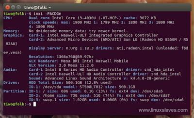 shows system hardware, CPU, drivers, Xorg, Desktop, Kernel, GCC version, Processes, RAM usage