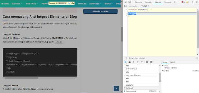 Cara Memasang Script Terbaru Anti Inspect Element di Blog