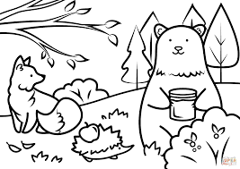 Animals In Autumn Coloring Pages