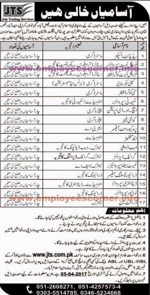 7500+ Invigilator -  Resident Inspector Jobs in JTS Pakistan