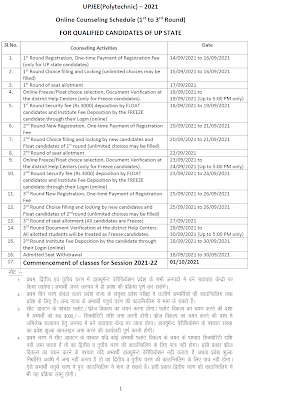 JEECUP Result Counselling Schedule 2021