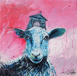 får, sheep,humor i kunst, kunst galleri ayoe pløger, maleri, lærred, glad, farverig grøn