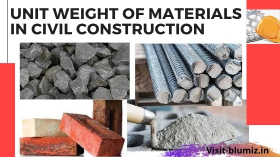 Unit Weight of Materials Used at the Construction