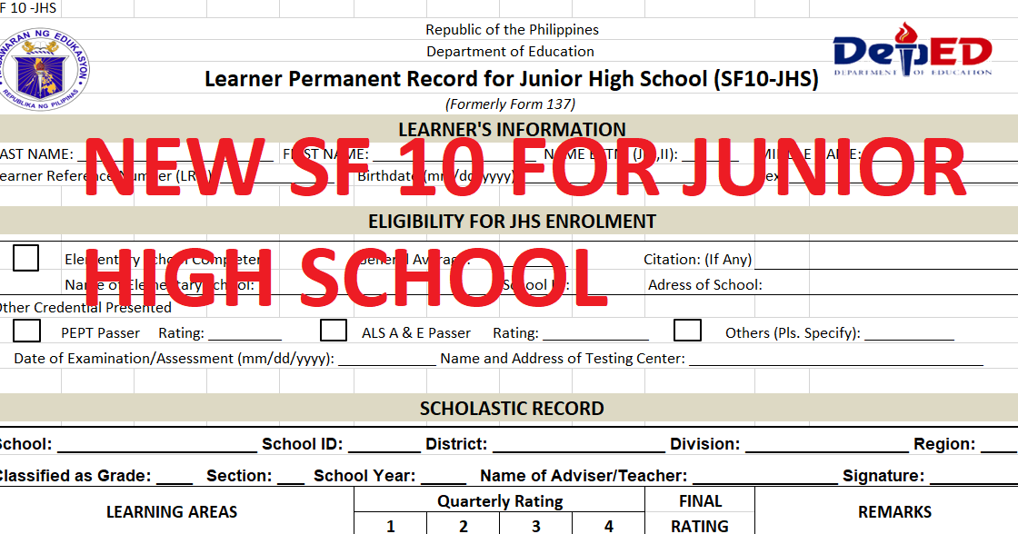 Service record form deped