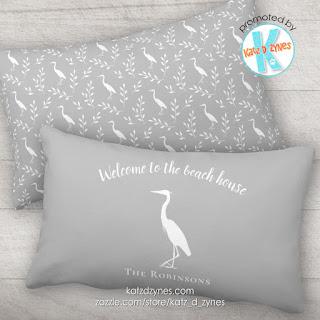 Welcome to the beach house heron silhouette custom outdoor lumbar pillow