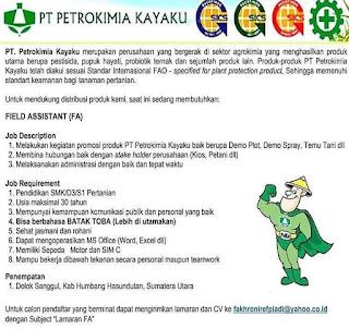 Lowongan Kerja Medan SMA SMK D3 S1 September 2020 PT Petrokimia Kayaku