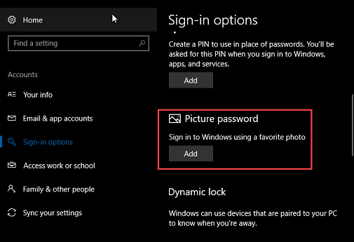 se photo password on windows 10