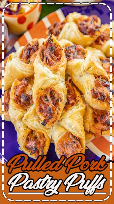 Pulled Pork Pastry Puffs - only 4 ingredients! Great recipe for a quick lunch, dinner or party. Smoky pulled pork tossed with BBQ sauce and cheese then baked in puff pastry. SO good! Can make ahead and freeze for later. We love to serve these with some coleslaw and extra BBQ sauce or Ranch for dipping. YUM! #pulledpork #partyfood #appetizer #tailgating