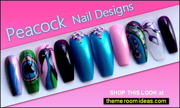 Peacock Inspired fake Nail Art Peacock