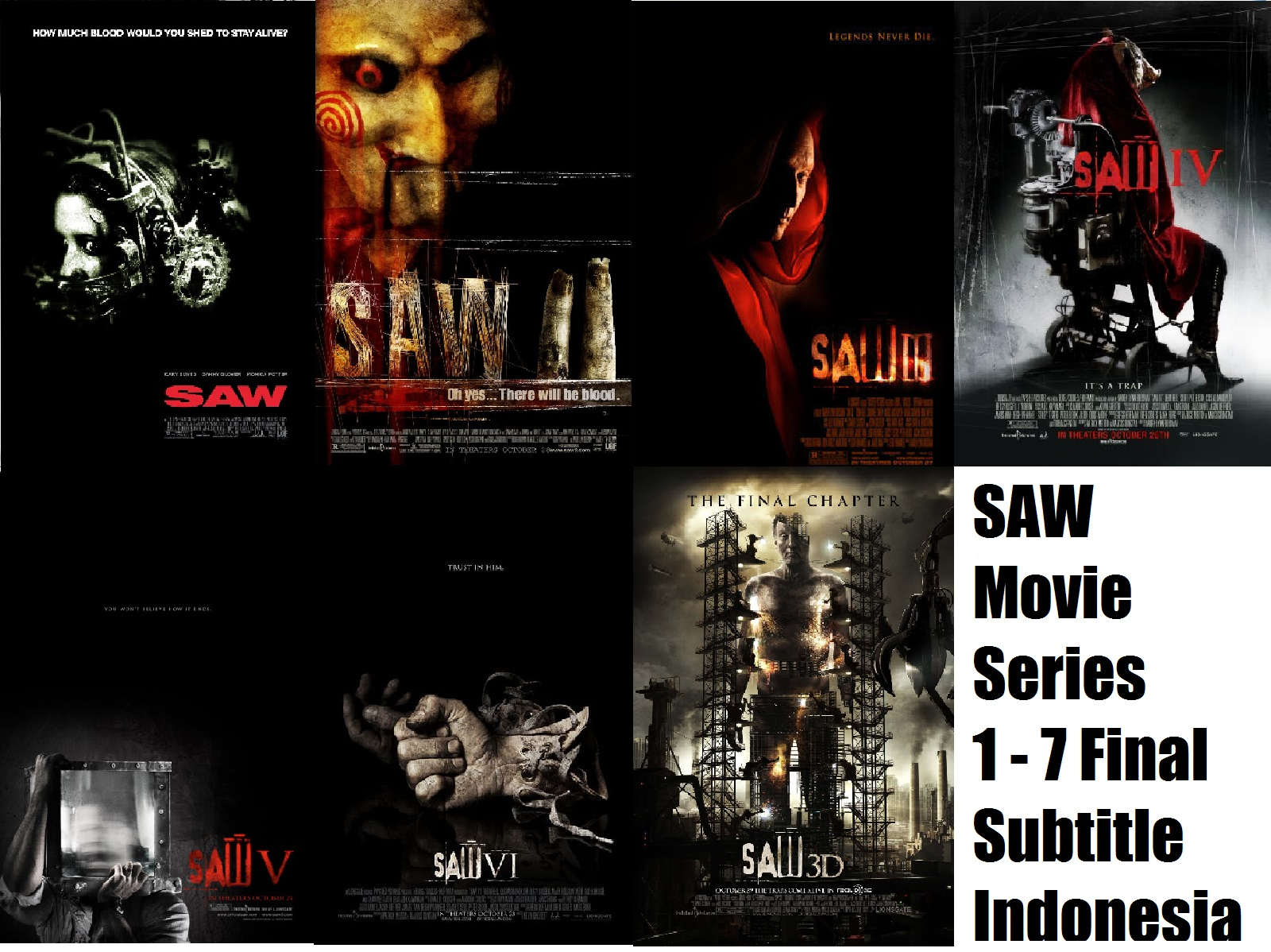 SAW Movie Series 1 – 7 Final FULL HD 720p Subtitle Indonesia