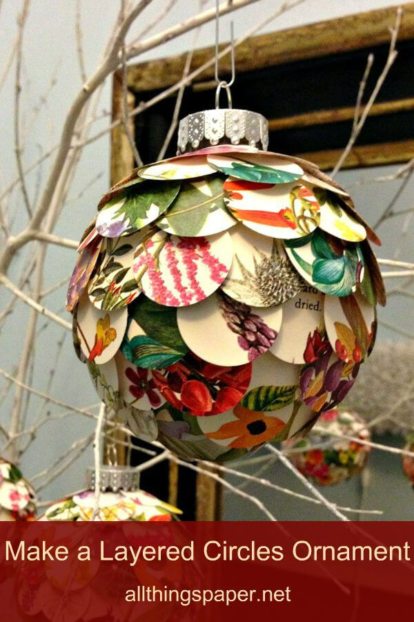 Layered Floral Paper Circles Artichoke Ornament