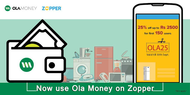 25% Discount OLA Money on Zopper App Max Rs 2500