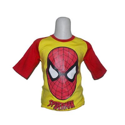 Kaos Raglan Anak Karakter Spiderman 2 Kuning