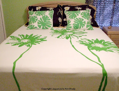 Green White and Black Floral Bedding in Guest Bedroom