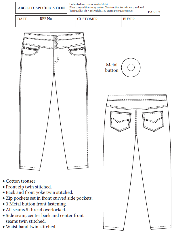 Ladies Fashion Trouser Specification Sheet Making