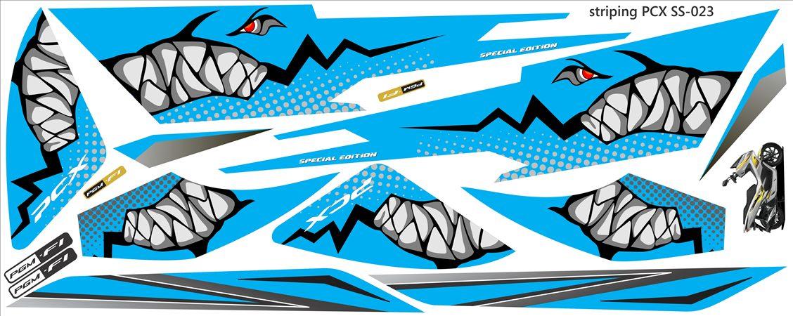 stiker Striping PCX tema shark