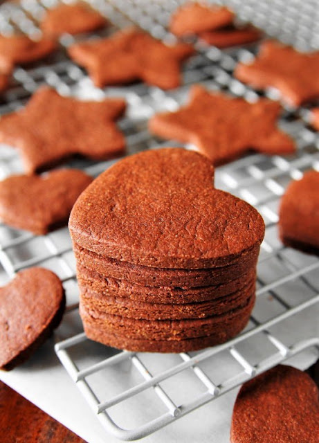 Stack of Baked Cutout Chocolate Sugar Cookies Image