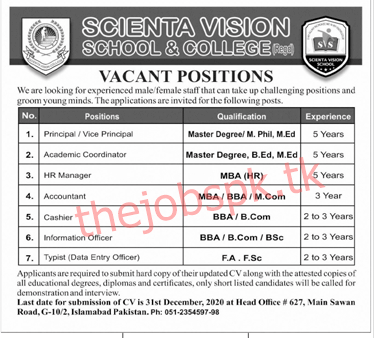 Latest Scienta Vision School and College Management Posts 2021