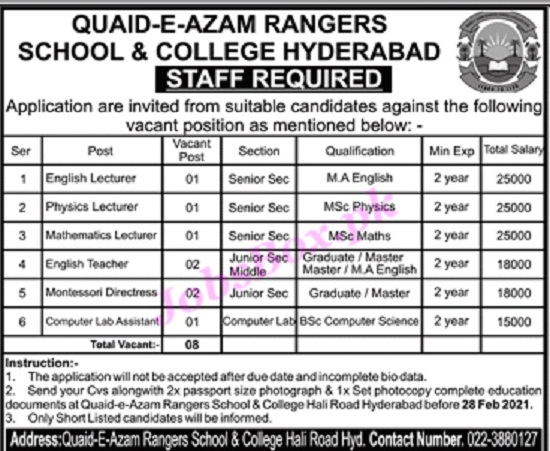 quaid-e-azam-rangers-school-college-hyderabad-jobs-2021-application-form