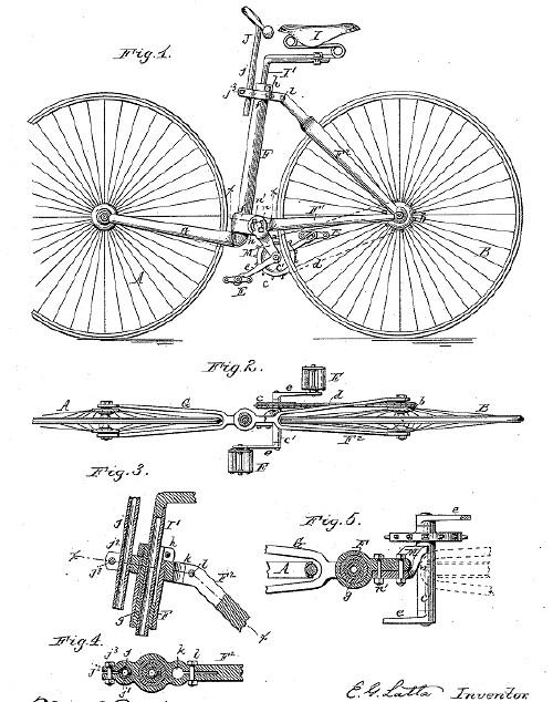 Gambar Sepeda sebelum dilipat - temuan Latta yang disertakan dalam pengajuan paten.
