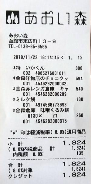 函館 金森赤レンガ倉庫 あおい森 2019/11/22 のレシート