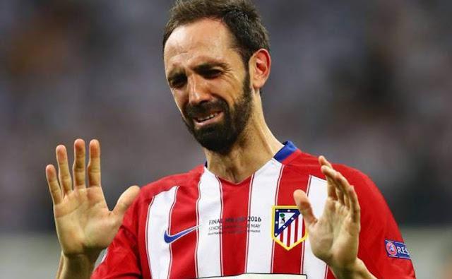 Juanfran atletico de Madrid llorando lagrimas