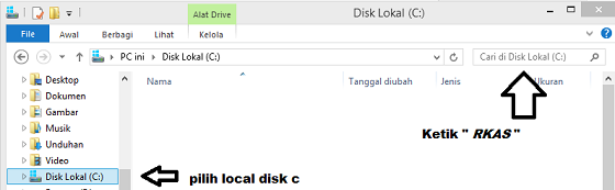 Cari padafolder local disk c