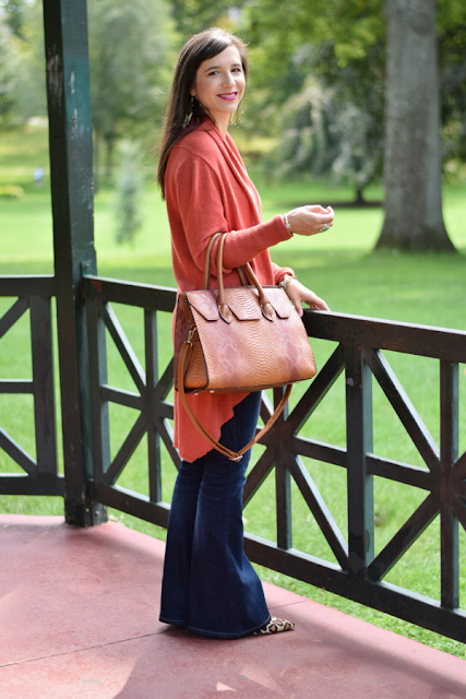 The perfect fall cardigan paired with affordable flare jeans