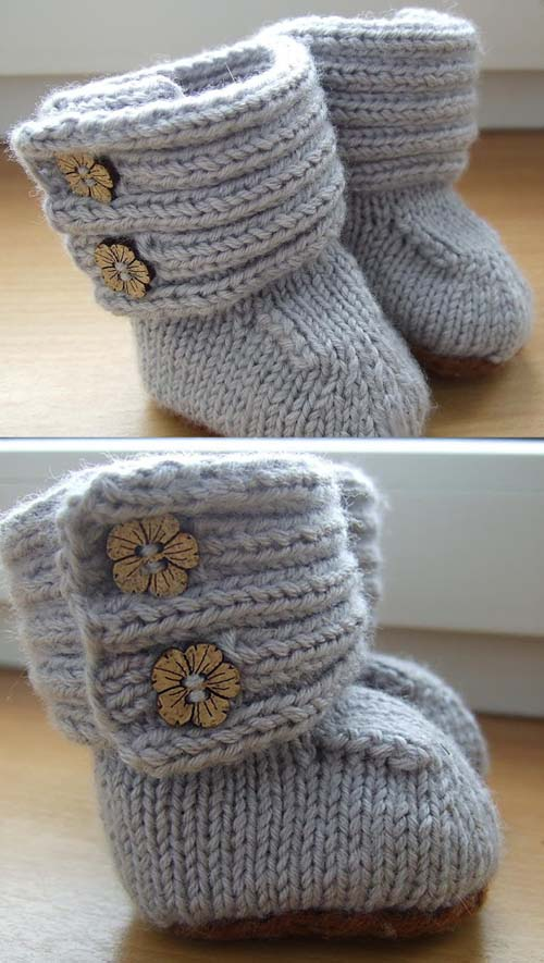 Ribbing Upper Wrap Around Baby Booties - Tutorial