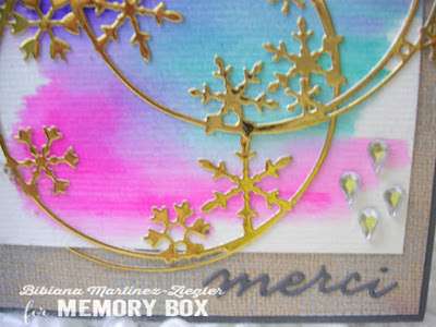 watercolor winter thank you card detail