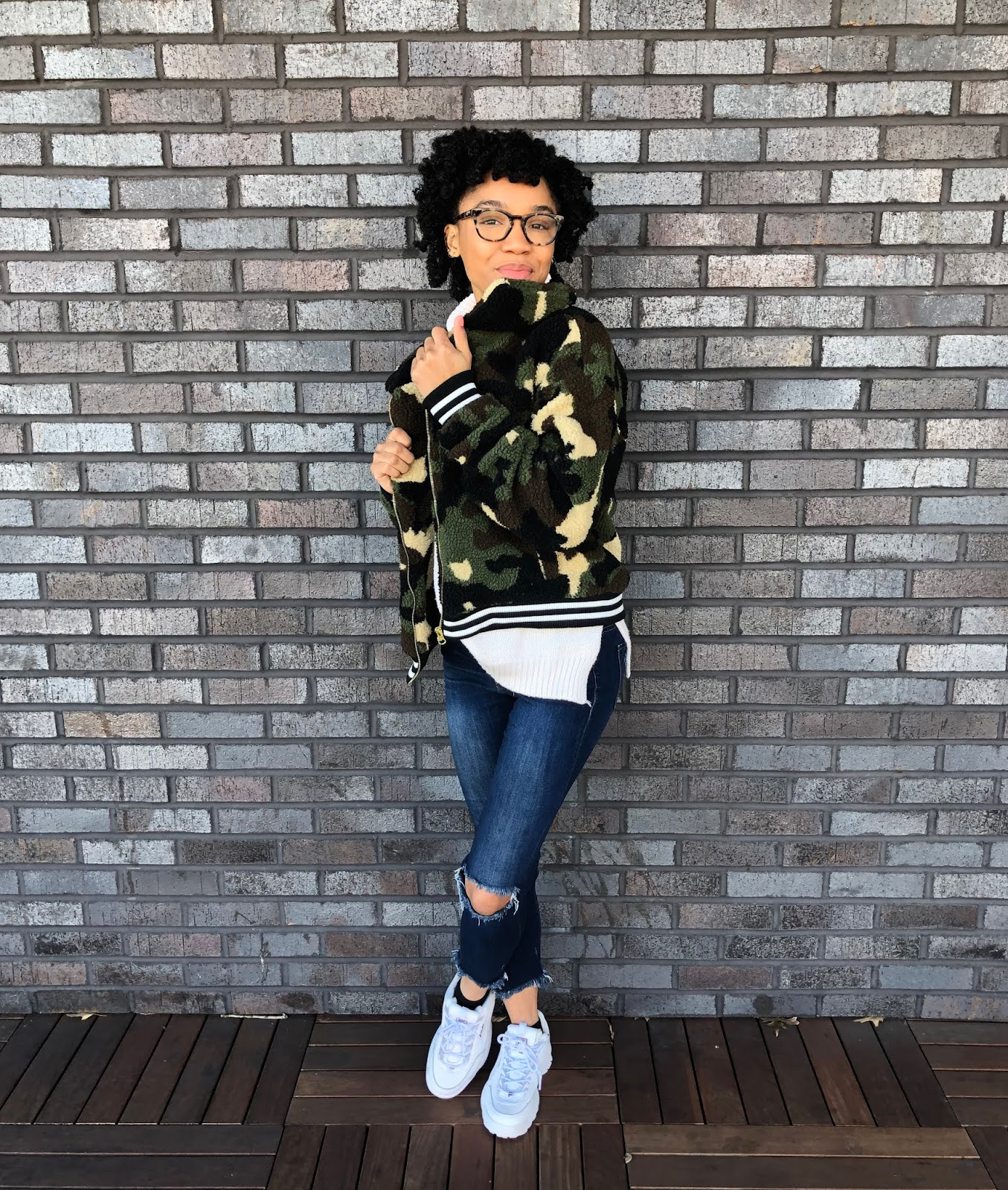 NC Style and Fashion blogger wearing camo teddy jacket with natural hair