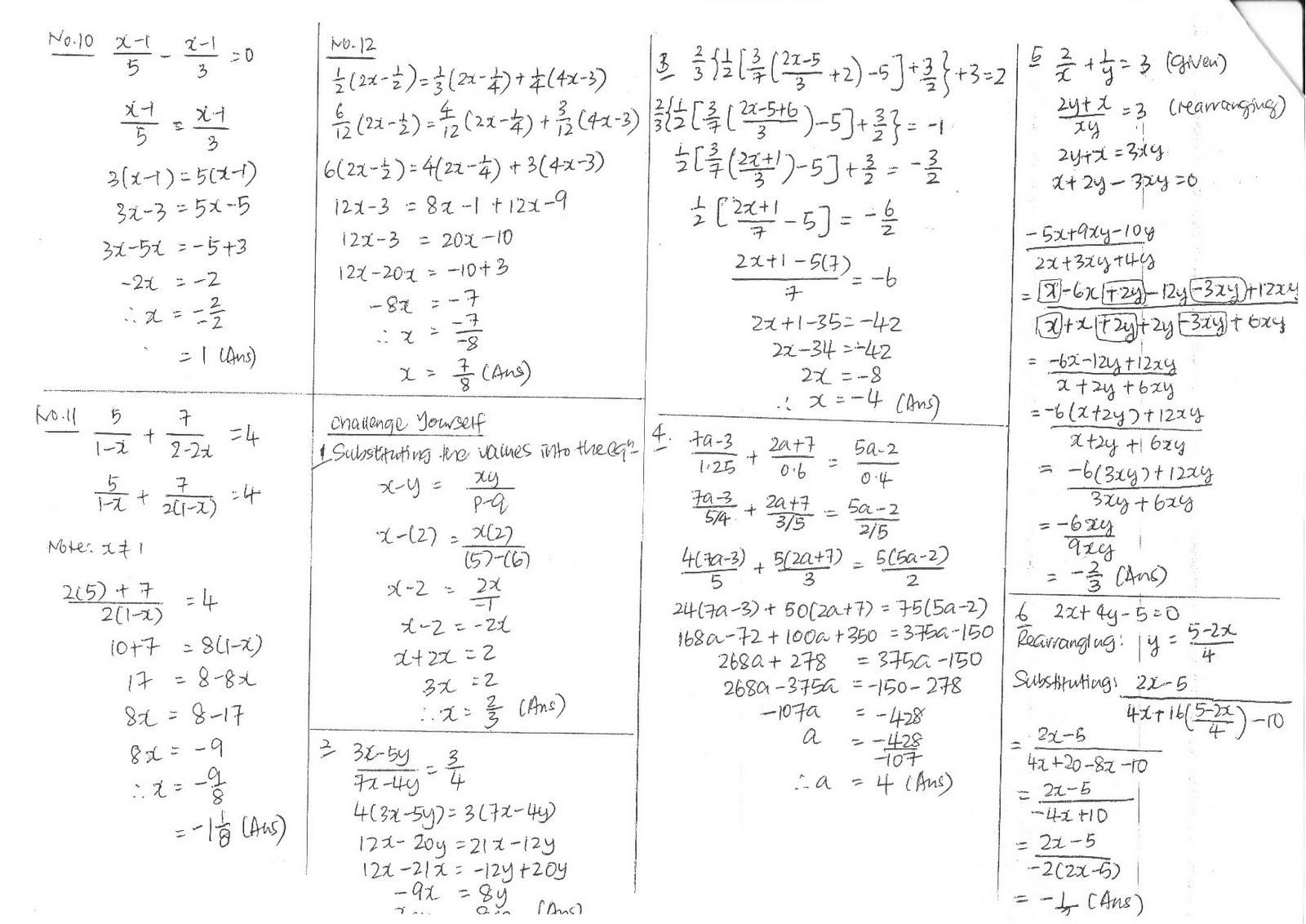 2011 S1-06 Maths Blog: Math answer sheet WS8, WS9 & WS10