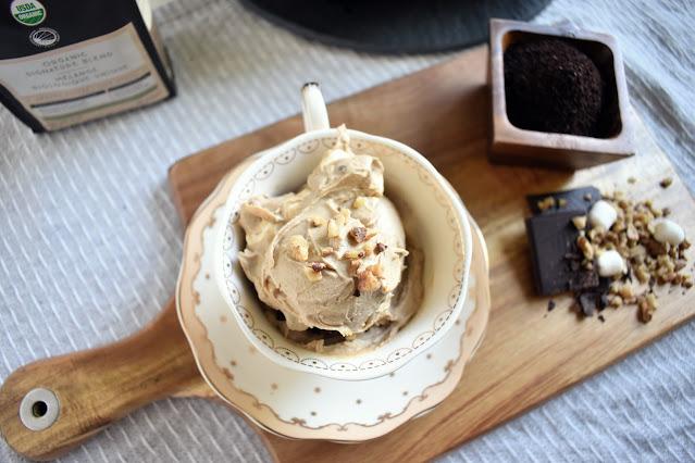 Vegan Coffee Ice Cream with chocolate, marshmallows, and walnuts