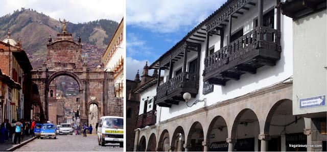 Cusco: Arco de Santa Clara e os típicos balcões entalhados