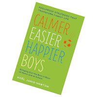 green book cover with the title calmer easier happier boys