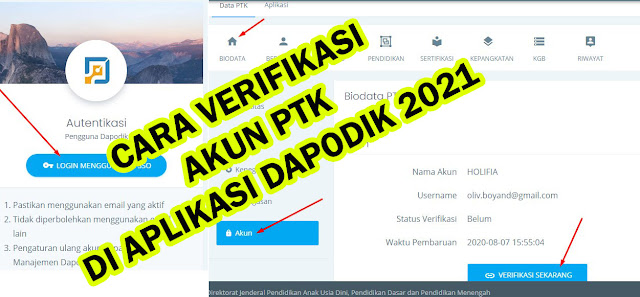 Cara Verifikasi Akun PTK Dapodik 2021 Terbaru 7 Agustus 2020