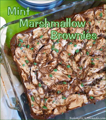 Mint Marshmallow Brownies are thick, rich mint flavored brownies baked with a mint marshmallow topping | Recipe developed by www.BakingInATornado.com | #dessert #chocolate