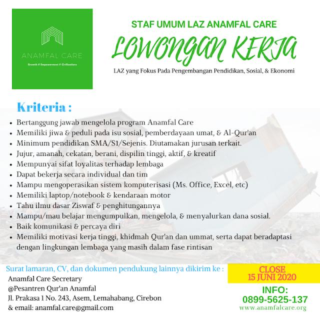 Lowongan Kerja (LOKER) Staf Umum LAZ Anamfal Care Cirebon