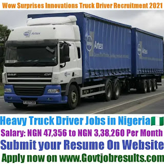 Wow Surprises Innovations Heavy Truck Driver Recruitment 2021-22