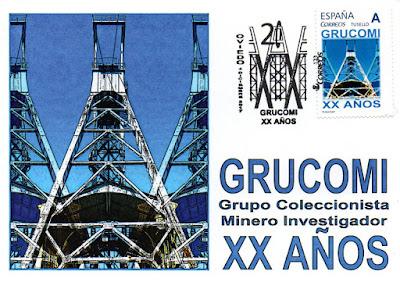 Tarjeta con el sello y el matasellos del XX aniversario de GRUCOMI