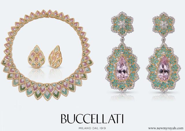 Beatrice Borromeo wears Buccellati Sadar parure and Alyssum cocktail earrings