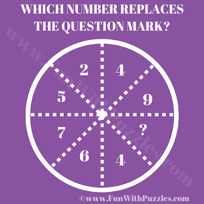 This is the Circle Puzzle in which your challenge is to find the missing number which replaces question mark
